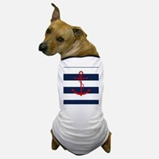 Red Anchor on Blue Stripes Dog T-Shirt