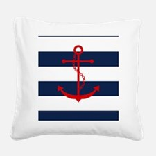 Red Anchor on Blue Stripes Square Canvas Pillow