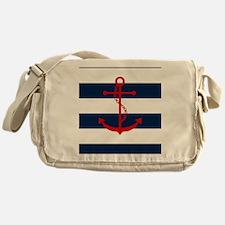 Red Anchor on Blue Stripes Messenger Bag