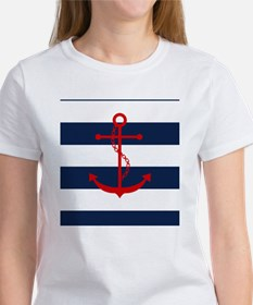 Red Anchor on Blue Stripes Women's T-Shirt