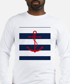 Red Anchor on Blue Stripes Long Sleeve T-Shirt