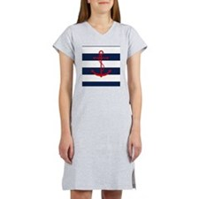 Red Anchor on Blue Stripes Women's Nightshirt