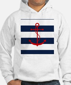 Red Anchor on Blue Stripes Hoodie