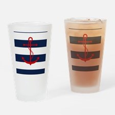 Red Anchor on Blue Stripes Drinking Glass