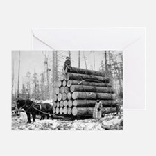 Hauling a Load of Logs Greeting Card