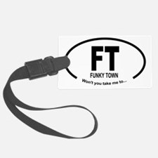 Car Oval Funky Town Luggage Tag