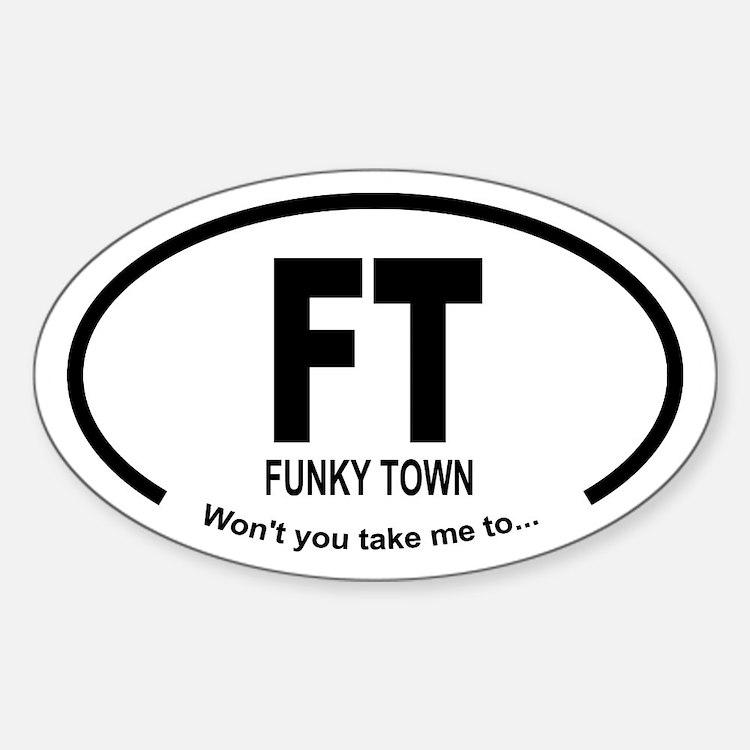 Car Oval Funky Town Sticker (Oval)