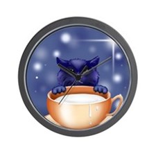 cute kitten with large saucer cup of mi Wall Clock
