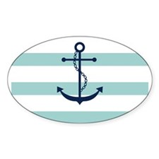 Blue Anchor on Mint Stripes Decal