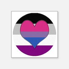 """Biromantic Asexual Heart Square Sticker 3"""" x 3"""""""