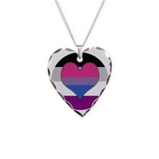 Biromantic Asexual Heart Necklace