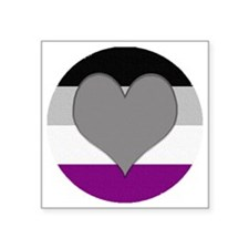 """Grayromantic Asexual Heart Square Sticker 3"""" x 3"""""""