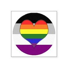"""Homoromantic Asexual Heart Square Sticker 3"""" x 3"""""""