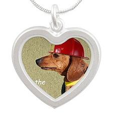 Dachshund Fireman Birthday C Silver Heart Necklace