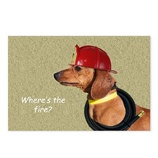 Dachshund Fireman Birthda Postcards (Package of 8)