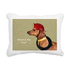 Dachshund Fireman Birthd Rectangular Canvas Pillow
