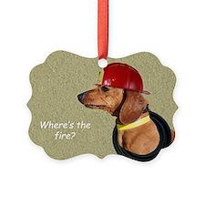 Dachshund Fireman Birthday Card b Ornament