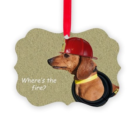 Dachshund Fireman Birthday Card b Picture Ornament