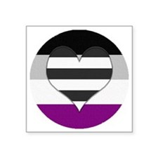 "Heteroromantic Asexual Hear Square Sticker 3"" x 3"""