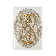 Double Infinity Gold Hearts on Wh Rectangle Magnet