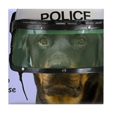 Rottweiler Police Birthday by Focus f Tile Coaster
