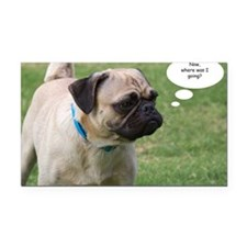 Pug, Now Where Was I Going Bi Rectangle Car Magnet