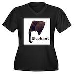 elephant5 Women's Plus Size V-Neck Dark T-Shirt
