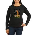 Fairies and Beagle Women's Long Sleeve Dark T-Shir
