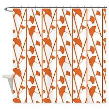 Orange Flowers On White Shower Curtain