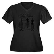 B&W Vintage  Women's Plus Size Dark V-Neck T-Shirt