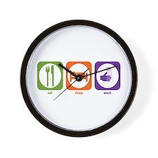 Eat Sleep Wash Wall Clock
