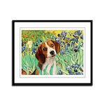 Irises & Beagle Framed Panel Print
