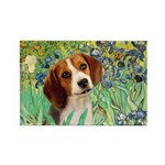 Irises & Beagle Rectangle Magnet