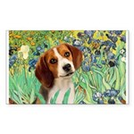 Irises & Beagle Sticker (Rectangle)