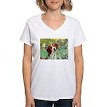 Irises & Beagle Women's V-Neck T-Shirt