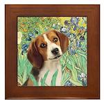 Irises & Beagle Framed Tile