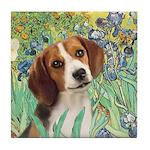 Irises & Beagle Tile Coaster