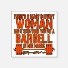 "Beast in every woman Camo H Square Sticker 3"" x 3"""