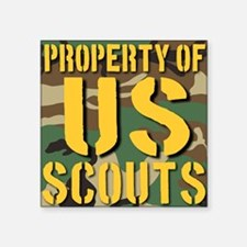 "Property of US Scouts Square Sticker 3"" x 3"""