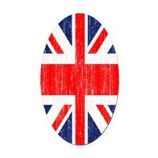 Distressed Union Jack 3 by 5 rug Oval Car Magnet