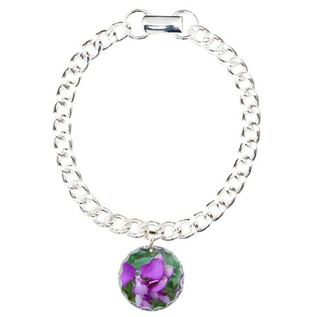 Purple Flower Charm Bracelet, One Charm