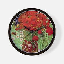 Van Gogh Red Poppies and Daisies Wall Clock