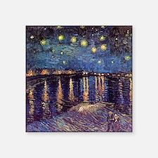 "Van Gogh Starry Night Over  Square Sticker 3"" x 3"""