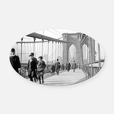 Brooklyn Bridge Pedestrians Oval Car Magnet