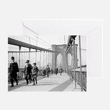 Brooklyn Bridge Pedestrians Greeting Card