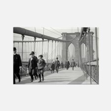 Brooklyn Bridge Pedestrians Rectangle Magnet