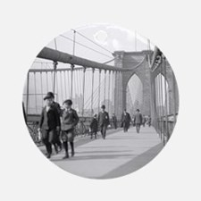 Brooklyn Bridge Pedestrians Round Ornament