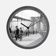 Brooklyn Bridge Pedestrians Wall Clock