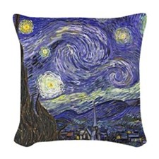 Starry Night by Vincent van Go Woven Throw Pillow