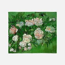 Pink Roses by Vincent van Gogh Throw Blanket